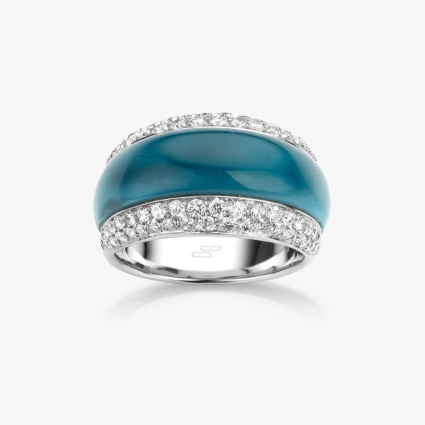 Witgouden ring gezet met een blauwe topaas en briljanten