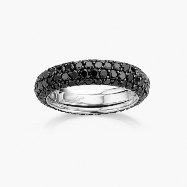 White gold ring set with black brilliants