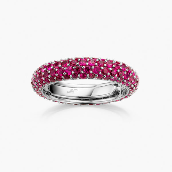 Ring in white gold and rubies