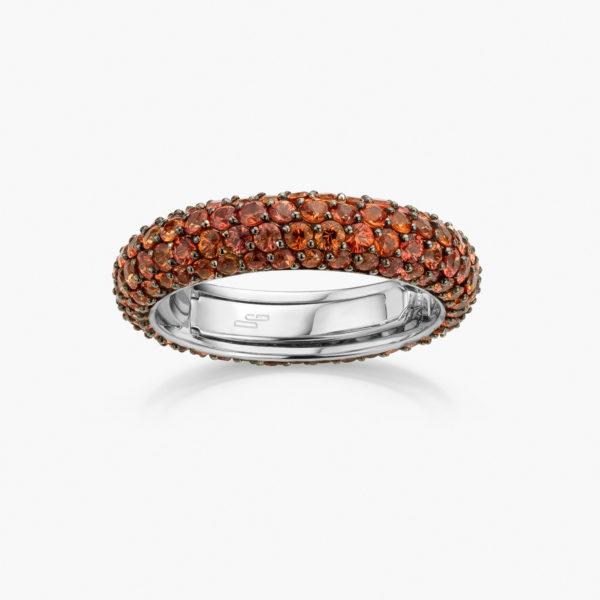 Witgouden ring gezet met oranje saffieren