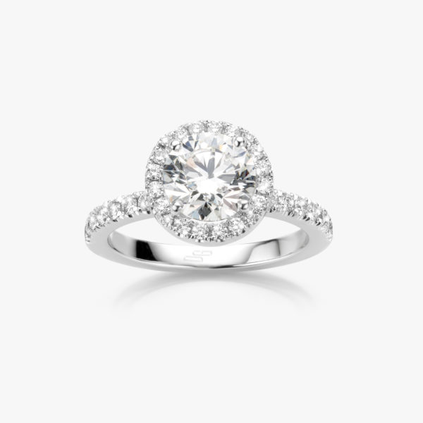 Ring Diamonds Solitaire Entourage White Gold Diamond Brilliant Diamonds Engagement Maison De Greef 1848