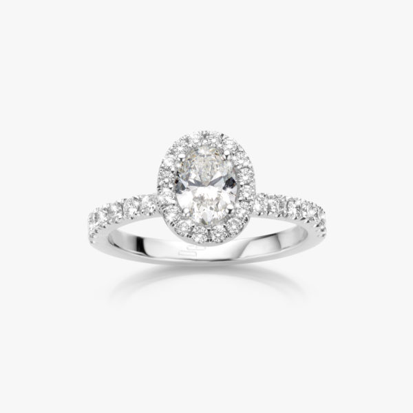 White gold ring ((Entourage)) set with oval shaped diamond and brilliants