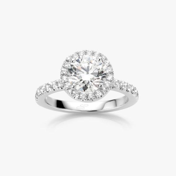 Ring Diamonds Solitaire Entourage Wit Goud Diamant Briljant Diamanten Verlovingsring Maison De Greef 1848