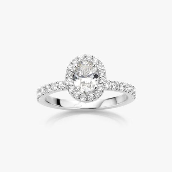 Witgouden ring ((Entourage)) gezet met een ovaal geslepen diamant en briljanten