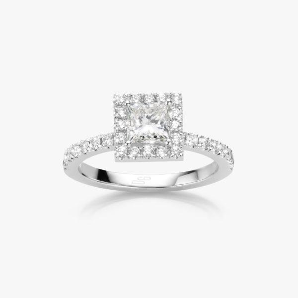 Ring Diamonds Solitaire Entourage Wit Goud Prinses Diamant Verlovingsring Maison De Greef 1848