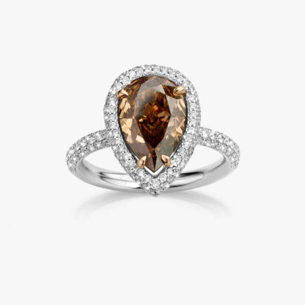 Ring Diamonds White Gold Diamant Pear Fancy Brown Brown Brilliants Diamonds Jewellery Maison De Greef 1848