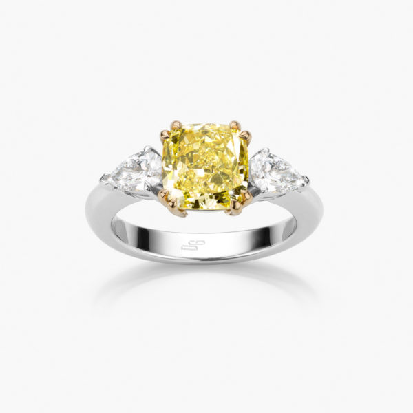 Ring Diamonds White Gold Diamonds Yellow Fancy Intense Pear Jewellery Maison De Greef 1848