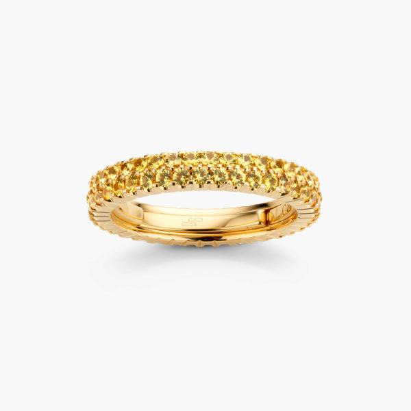 Geelgouden ring ((Extensible)) gezet met gele saffieren