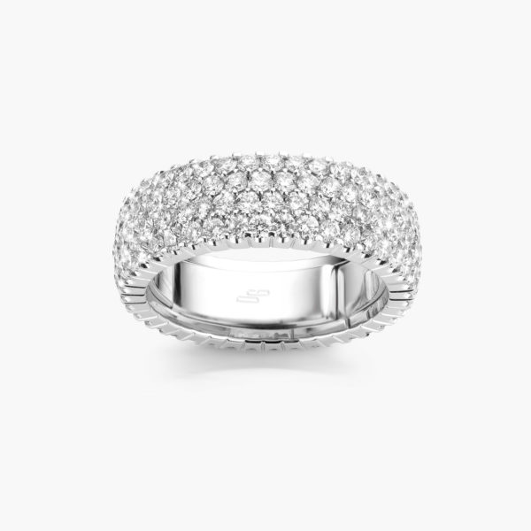 Ring Extensible Large White Gold Diamonds Brilliants Jewellery Colorama Maison De Greef 1848
