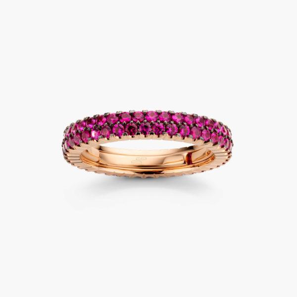 Roodgouden ring ((Extensible)) gezet met robijnen