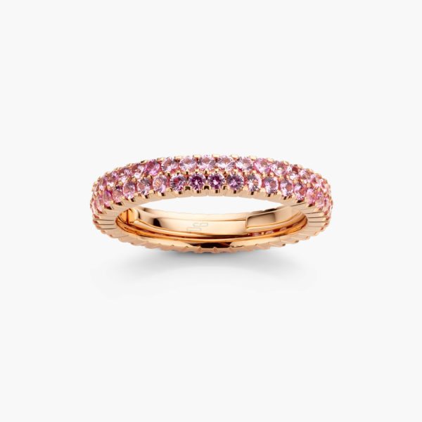 Rose gold ring ((Extensible)) set with pink sapphires