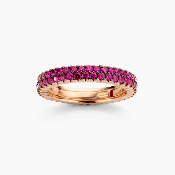 Rose gold ring ((Extensible)) set with rubies