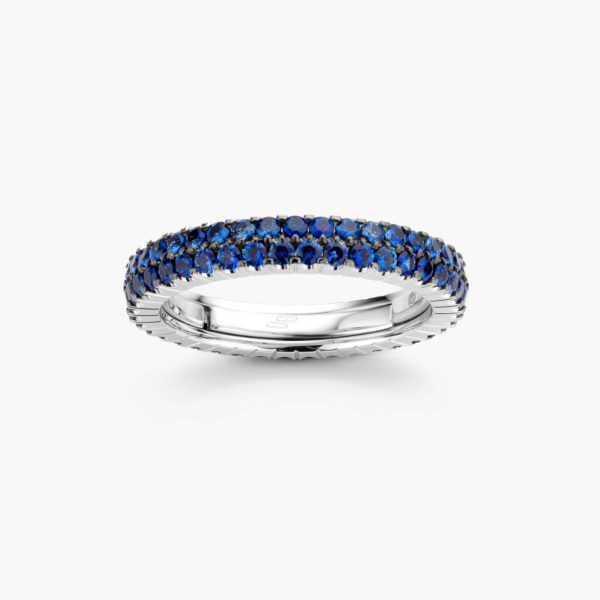 White gold ring ((Extensible)) set with blue sapphires