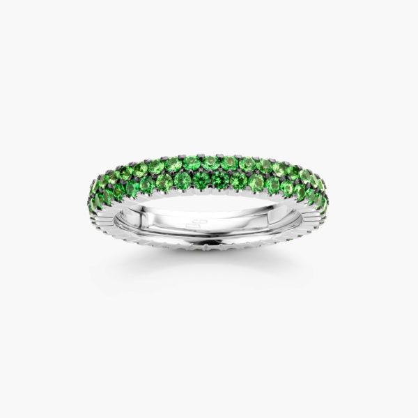 Witgouden ring ((Extensible)) gezet met tsavorieten