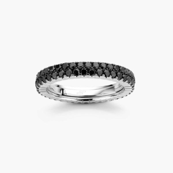 Witgouden ring ((Extensible)) gezet met zwarte briljanten