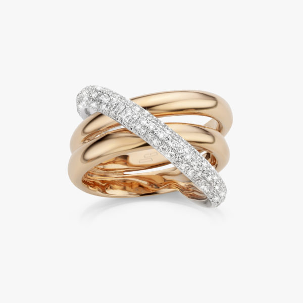 Rose and white gold ring set with brilliants