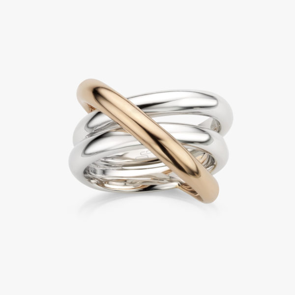 Ring Gold Ceramic White Rose Gold Jewellery Maison De Greef 1848