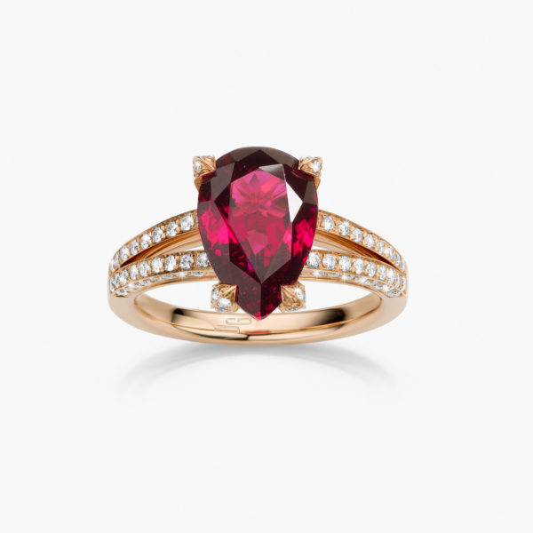 Rose gold ring set with a pear shaped rubellite and brilliant cut diamonds