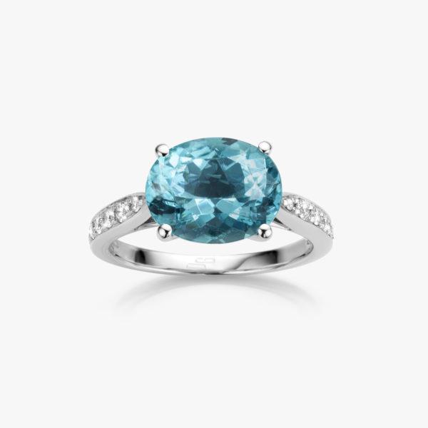 Ring Precious Wit Goud Blauw Groene Toermalijn Diamanten Briljanten Maison De Greef 1848