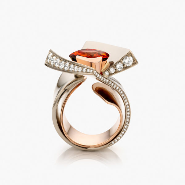 Ring Raw White Gold Rose Gold Mandarin Garnet Brilliants La Pirouette The Fire Spark Jewellery Maison De Greef 1848