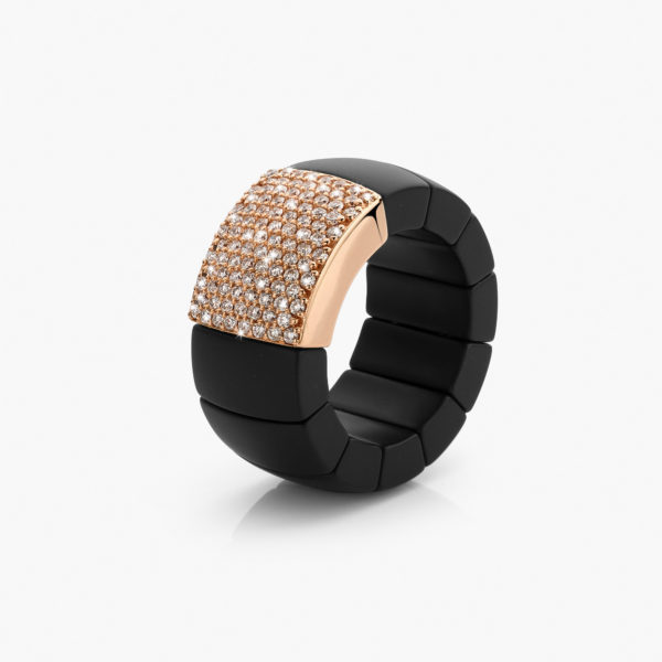 Black ceramic and rose gold ring set with brilliant cut diamonds