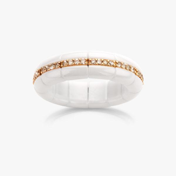 Ring ((Pura)) in witte keramiek met rood goud, gezet met bruine briljanten