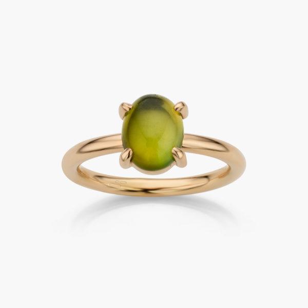 Ring Rood Goud Groene Toermalijn Juwelen Cabochon Maison De Greef 1848