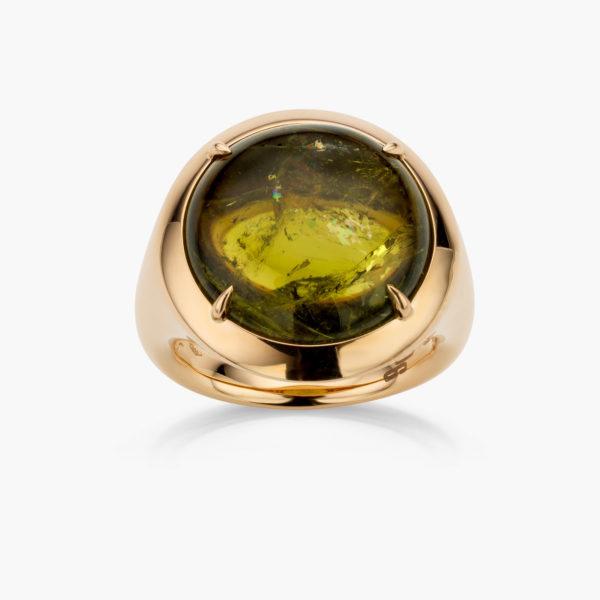 Ring Rood Goud Large Groene Toermalijn Juwelen Cabochon Maison De Greef 1848