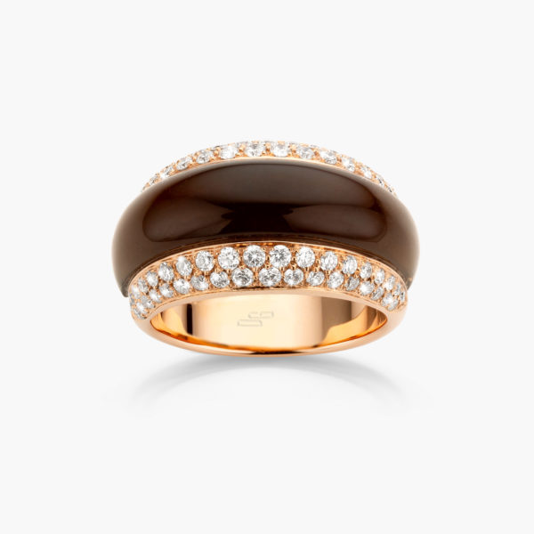 Ring Rose Gold Brown Quartz Diamonds Brilliants Jewellery Cabochon Maison De Greef 1848