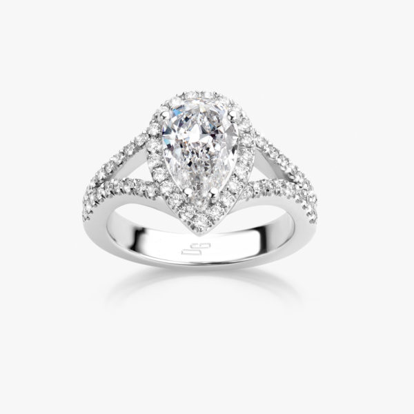 White gold ring, set with a pear shaped diamond and brilliants