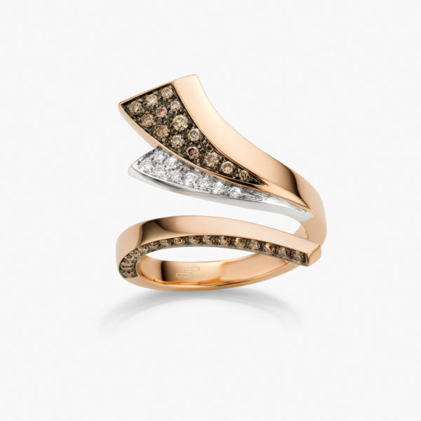 Ring Wave Rood Goud Wit Diamanten Bruin Juwelen Maison De Greef 1848
