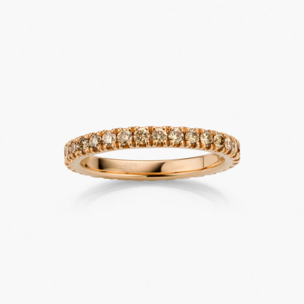 Rose gold ring  set with brilliant cut diamonds ((fancy brown))