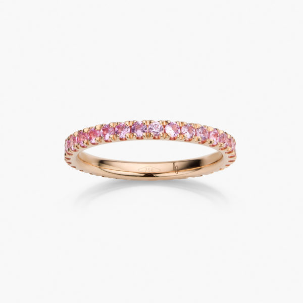 Rose gold ring  set with pink sapphires