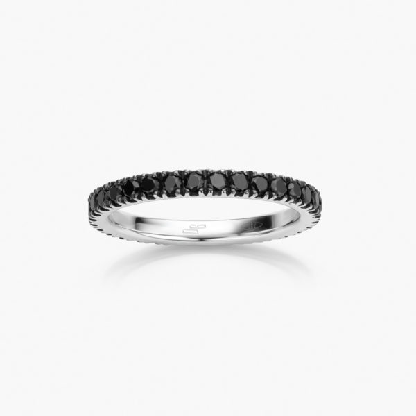 Ring Wedding Band Colorama White Gold Diamonds Black Jewellery Maison De Greef 1848