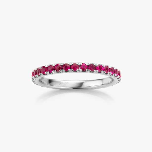 White gold ring set with rubies