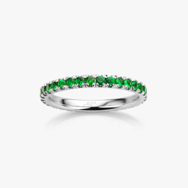 Ring Wedding Band Colorama White Gold Tsavorite Green Jewellery Maison De Greef 1848