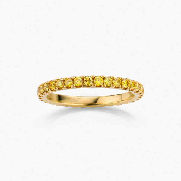 Yellow gold ring set with brilliant cut diamonds ((fancy intense yellow))