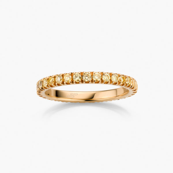Yellow gold ring set with brilliant cut diamonds ((fancy light yellow))