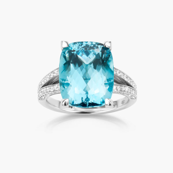 White gold ring with blue aquamarine and brilliants