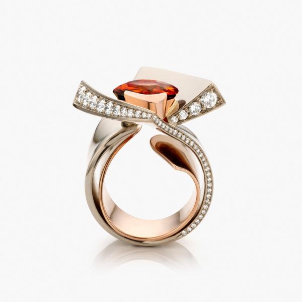 Ring Wit Goud Onbewerkt Roos Goud Mandarijn Granaat Briljanten La Pirouette The Fire Spark Juwelen Maison De Greef 1848