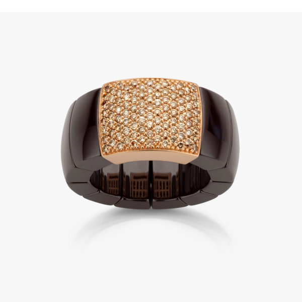 Ceramic and rose gold ring ((Domino)) set with brown brilliants