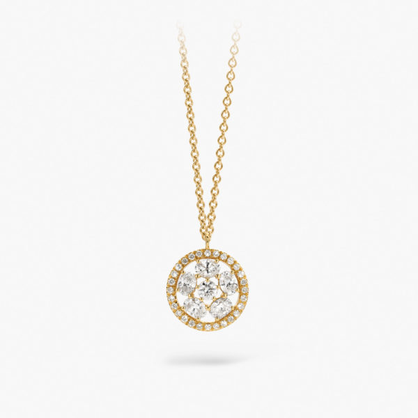 Yellow gold chain and pendant ((Spin for Luck)) set with oval shaped diamants
