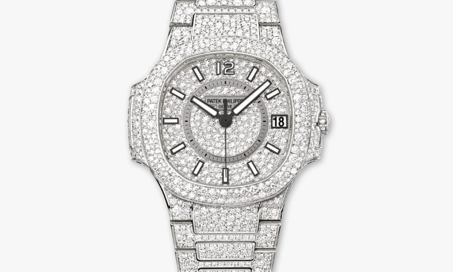 Montre Patek Philippe Nautilus Ladies Automatic Haute Joaillerie 7021 1 G 001 Or Blanc Diamants Neige Maison De Greef 1848