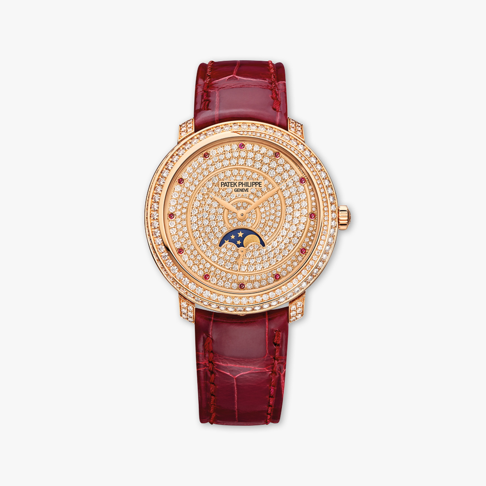 Montre Patek Philippe Complications Ladies Diamond Ribbon Joaillerie Moon Phases 4968 400 R 001 Or Rose Diamants Rubis Maison De Greef 1848