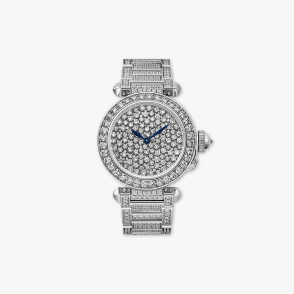 Pasha de Cartier in white gold set with brilliants