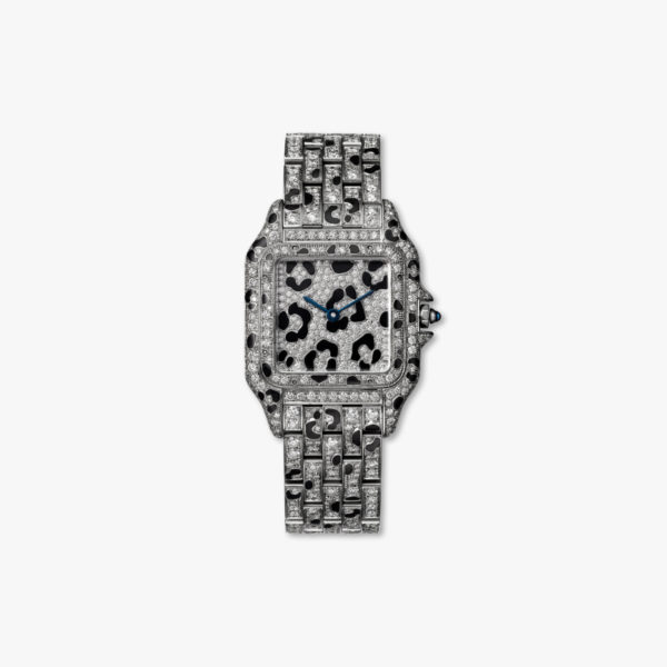 Diamond-set quartz watch, medium model, white gold