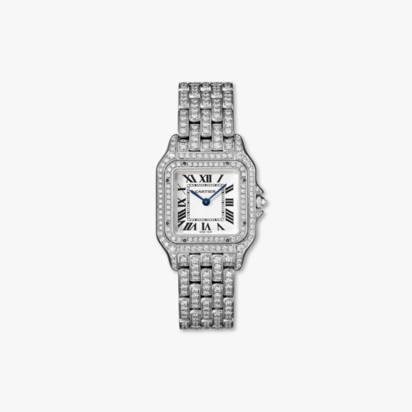 Montre à quartz sertie de diamants en or blanc moyen modèle