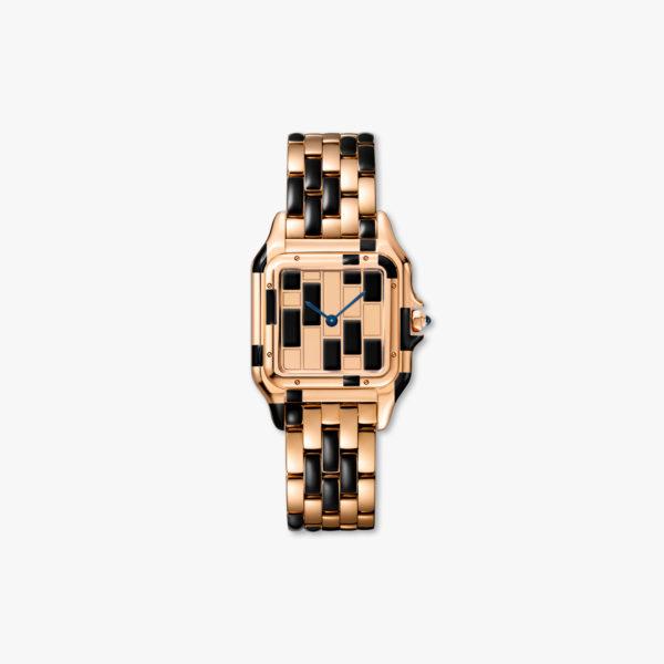Quartz watch, medium model, rose gold and black lacquer