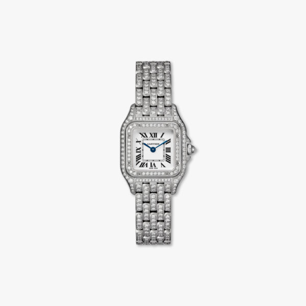 Montre à quartz sertie de diamants  en or blanc petit modèle