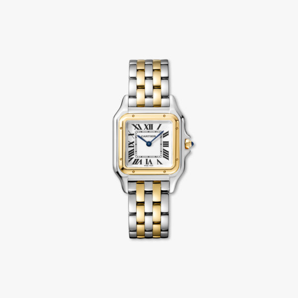 Quartz watch, medium model, yellow gold and stainless steel